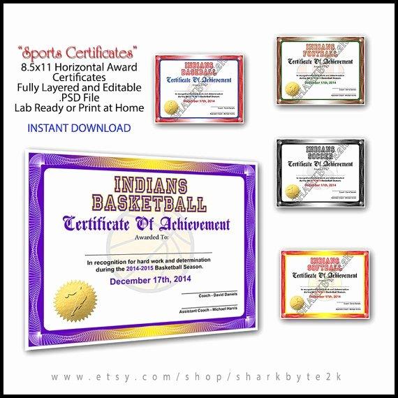 Softball Award Certificate Template New 5 In 1 Sports Award Certificate Achievement by Sharkbyte2k