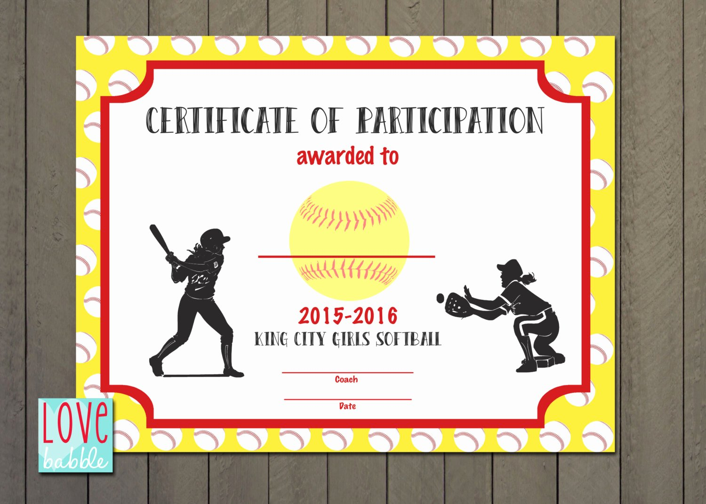 Softball Award Certificate Template Unique Girls softball Baseball T Ball Award Certificate Printable