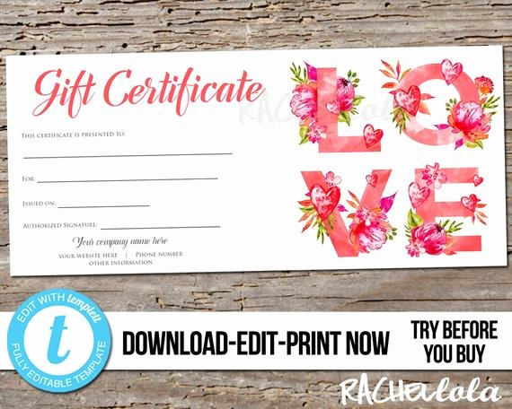 Spa Day Gift Certificate Template Inspirational Editable Custom Love Printable Gift Certificate Template