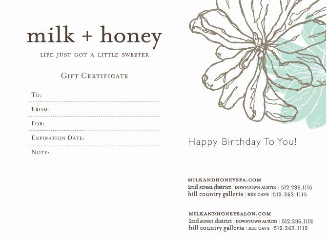 Spa Day Gift Certificate Template Lovely New Instant Gift Certificate Designs Milk Honey Blog