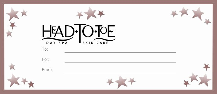 Spa Day Gift Certificate Template Unique Head to toe Day Spa