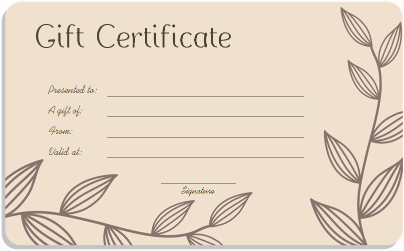 Spa Gift Certificate Template Best Of Leaf Branches Art Gift Certificate Template