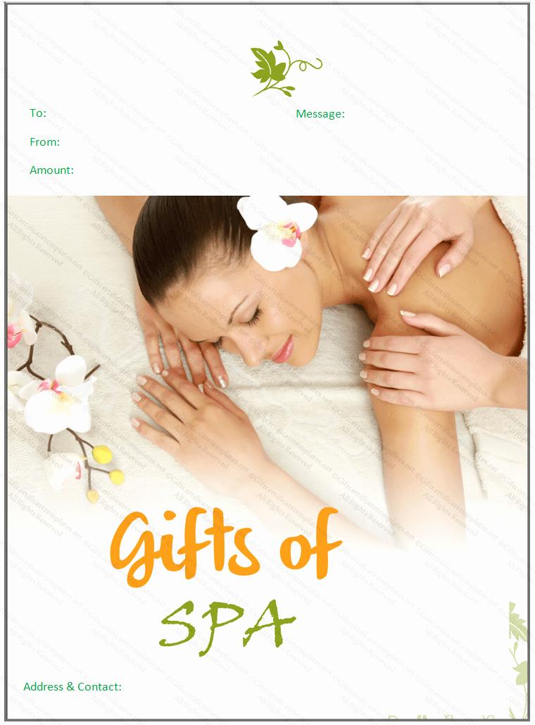 Spa Gift Certificate Template Elegant Beautiful Spa T Certificate Template