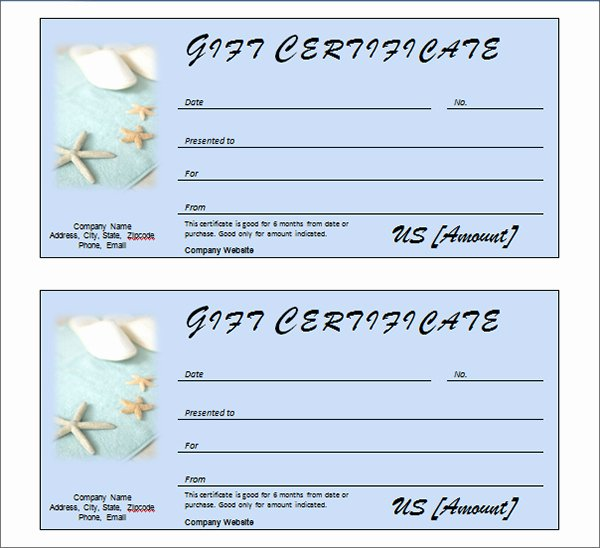 Spa Gift Certificate Template Fresh Printable Gift Certificate Templates