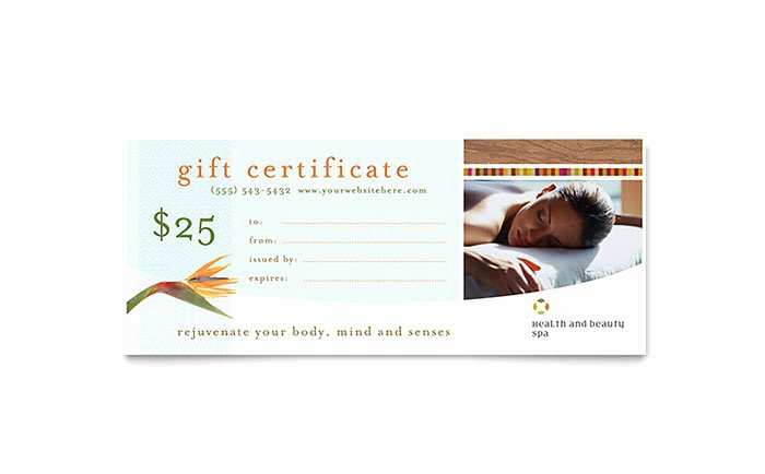 Spa Gift Certificate Template Inspirational Health & Beauty Spa Gift Certificate Template Word