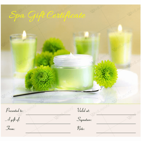 Spa Gift Certificate Template New Gift Certificate 17 Word Layouts