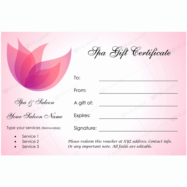 Spa Gift Certificate Template Word Fresh 50 Spa Gift Certificate Designs to Try This Season