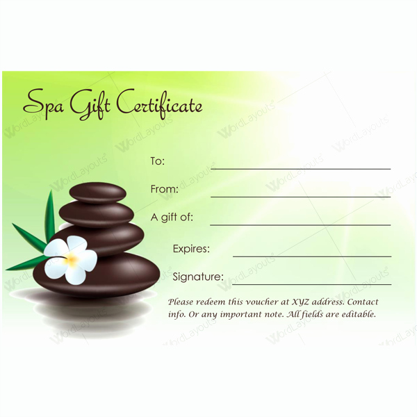 Spa Gift Certificate Template Word Lovely Gift Certificate 22 Word Layouts