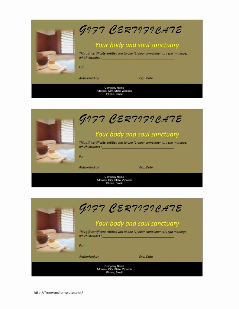Spa Gift Certificate Template Word Lovely Spa Gift Certificate Template
