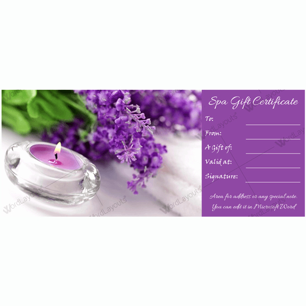 Spa Gift Certificate Template Word Luxury Gift Certificate 20 Word Layouts