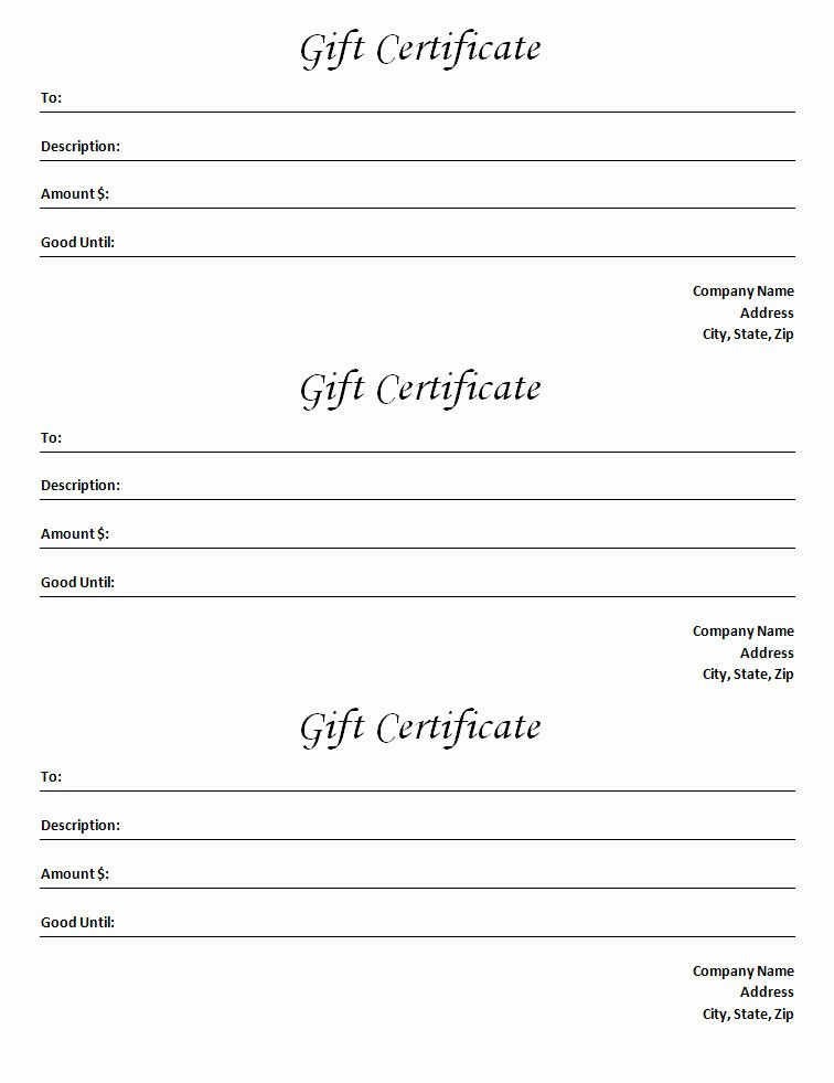 Spa Gift Certificate Template Word New Gift Certificate Template Blank Microsoft Word Document