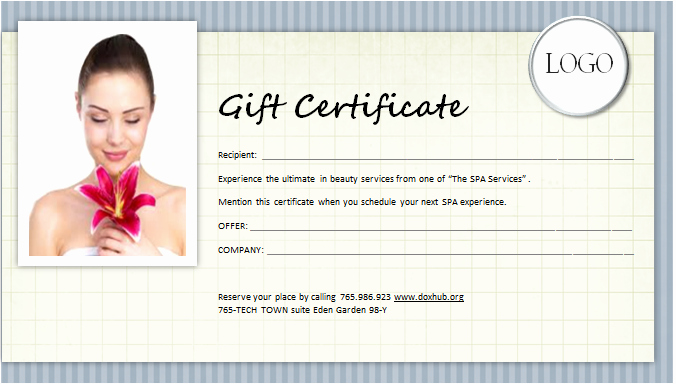 Spa Gift Certificate Template Word New Spa Gift Certificate Template for Ms Word