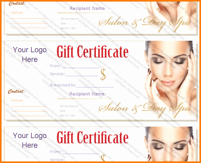 Spa Gift Certificate Template Word Unique Salon T Certificate Template