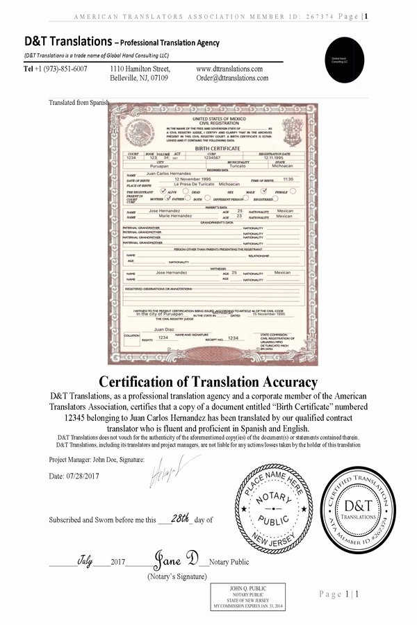 Spanish Birth Certificate Template Awesome Translation Samples D&t Translations
