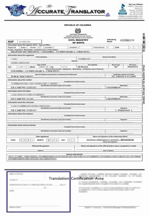 Spanish Birth Certificate Template Unique Birth Certificate Translation Of Public Legal Documents