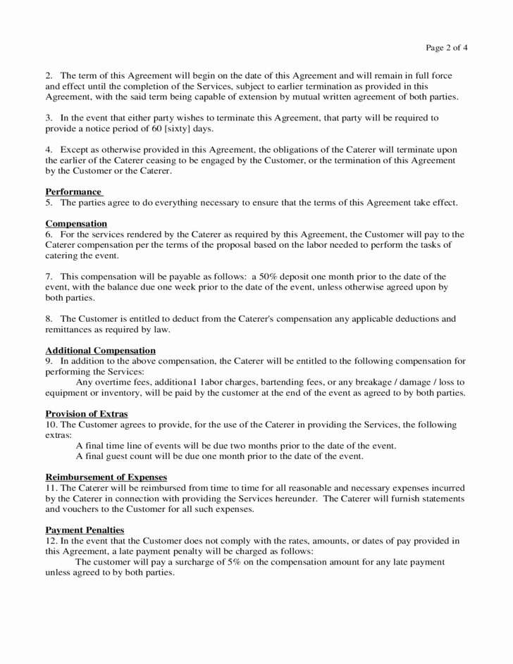 Spay and Neuter Contract Template Elegant Catering Contract form Virginia Free Download