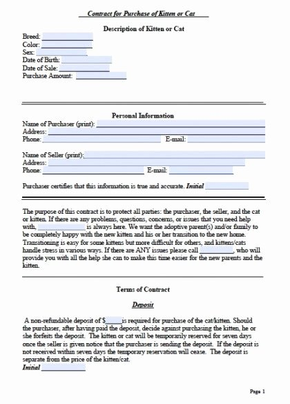 Spay and Neuter Contract Template Lovely Free Cat Bill Of Sale Kitten form Pdf