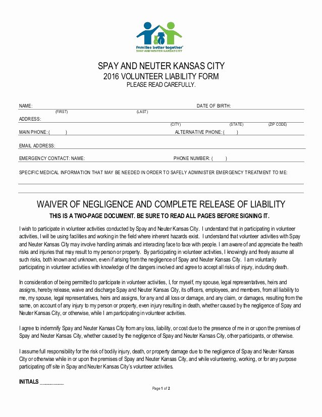 Spay and Neuter Contract Template New Volunteer Liability form