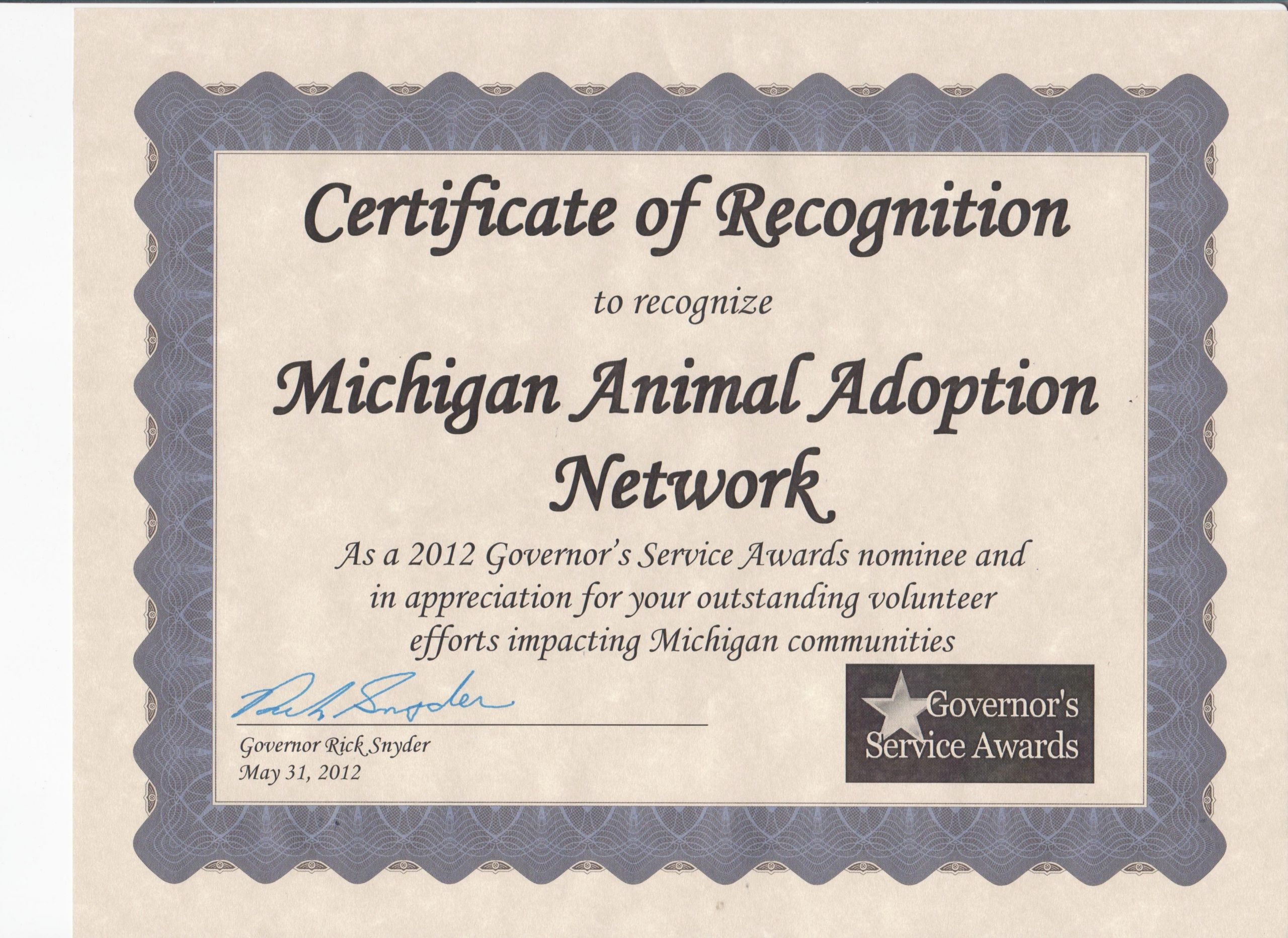 Spay Neuter Certificate Template Elegant Awards Certificates and Nominations Michigan Animal