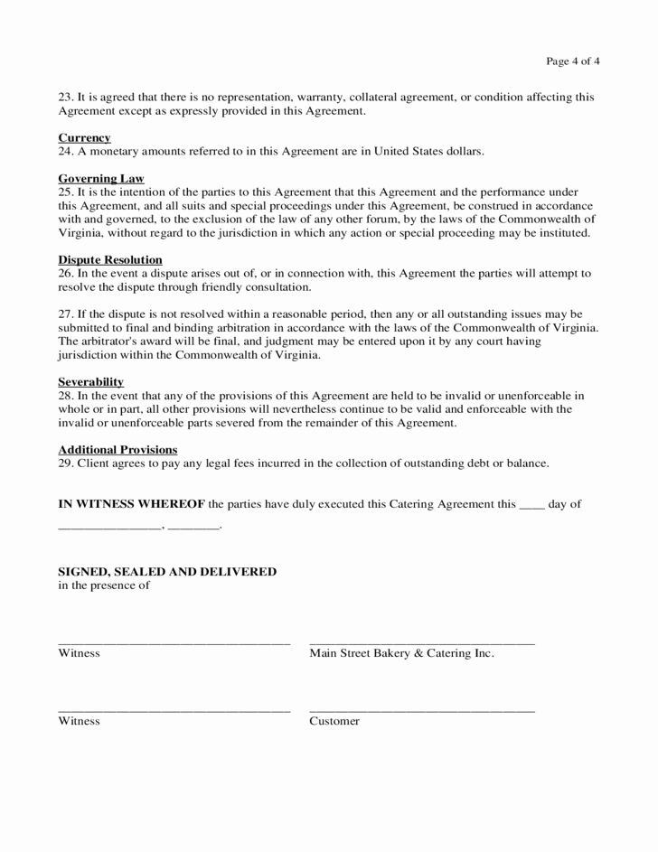 Spay Neuter Contract form Elegant Catering Contract form Virginia Free Download