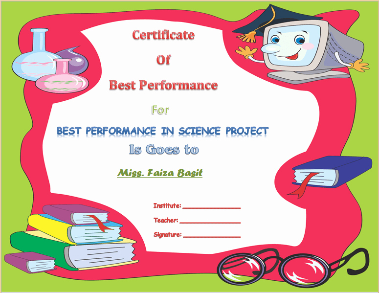 Special Award for Students Inspirational Best Science Student Award Certificate Template