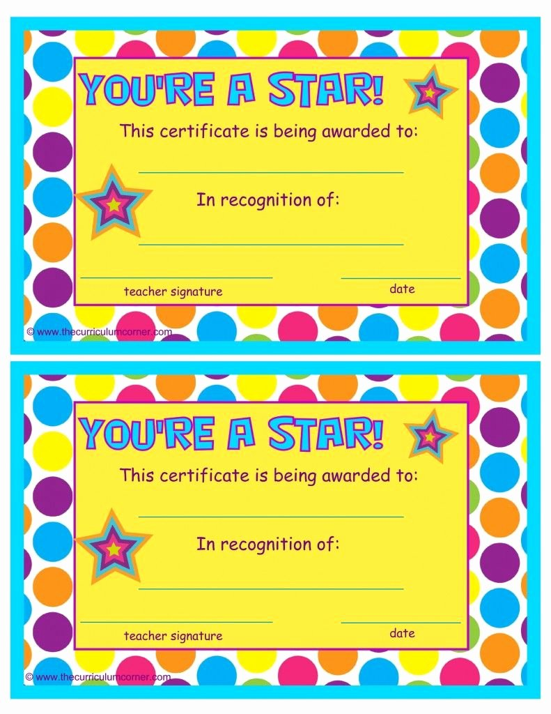 Special Award for Students Lovely You Re A Star End Of the Year Certificates