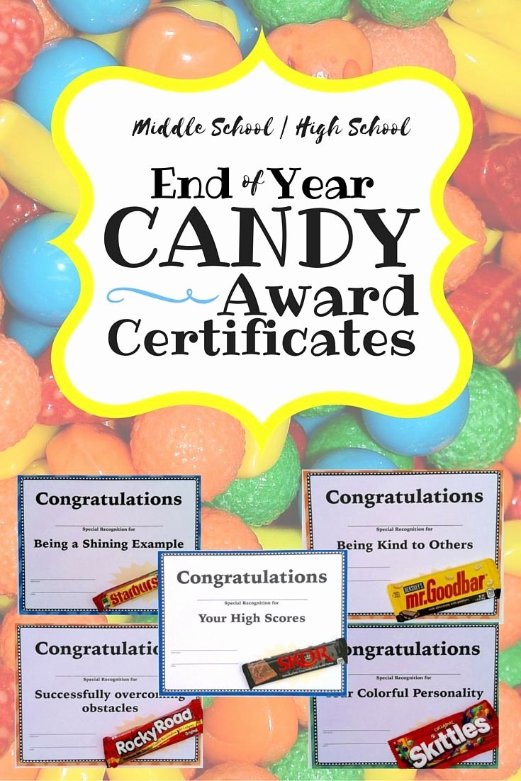 Special Award for Students Luxury End Of Year Candy Award Certificates Middle and High