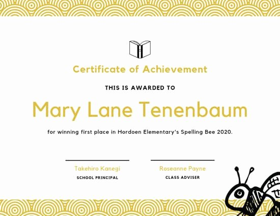 Spelling Bee Certificate Template Awesome Customize 41 Achievement Certificate Templates Online Canva