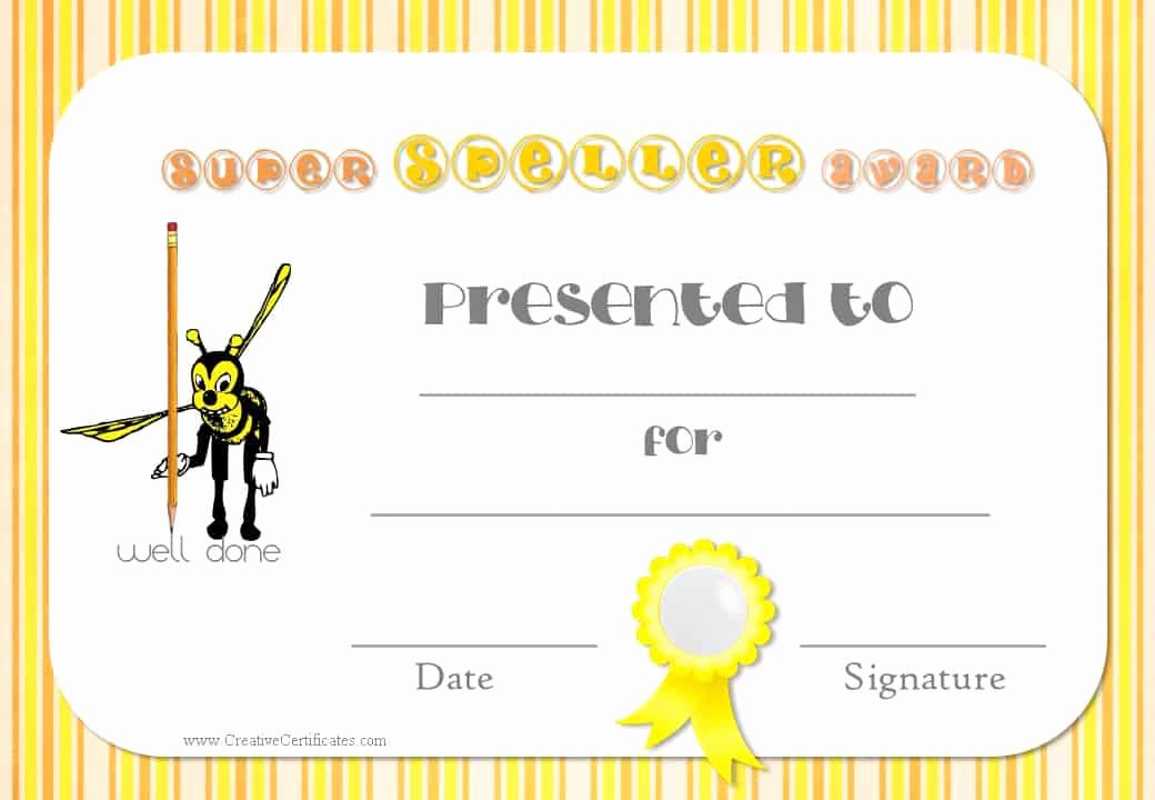 Spelling Bee Certificate Template Beautiful Free Spelling Bee Certificate Templates Customize Line