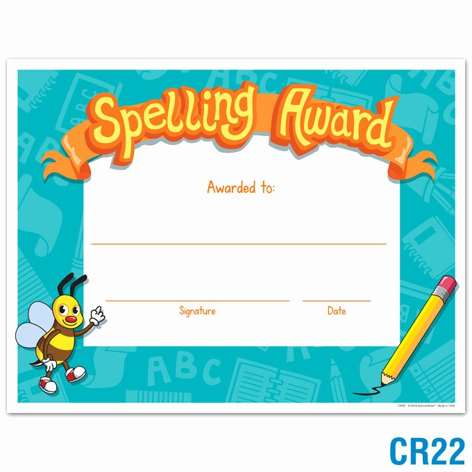 Spelling Bee Certificate Template Beautiful Product Details Spelling Award Certificates