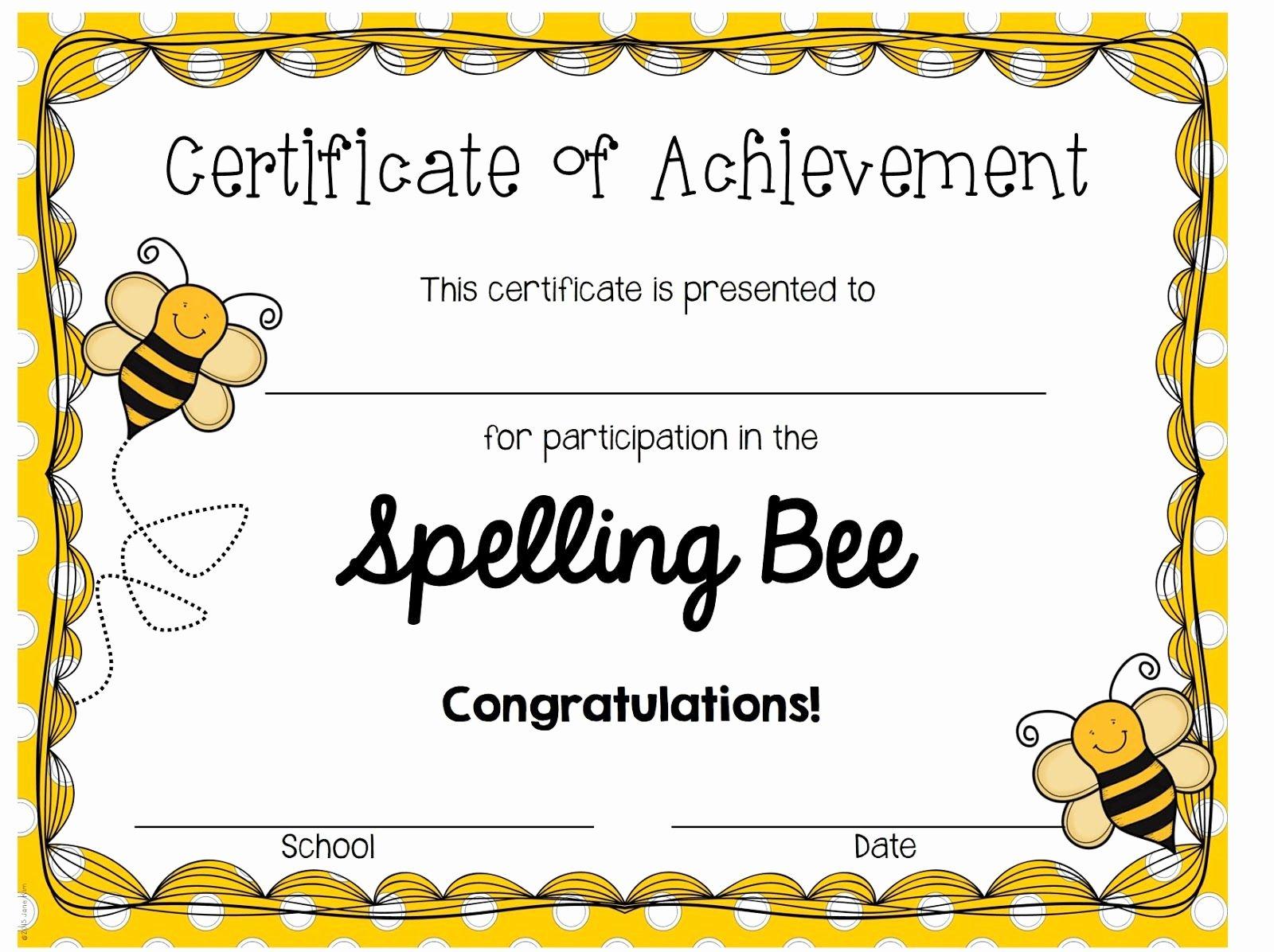 Spelling Bee Certificate Template Beautiful Spelling Bee Certificates Printable Invitation Templates