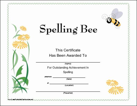Spelling Bee Certificate Template Best Of Spelling Bee Printable Certificate