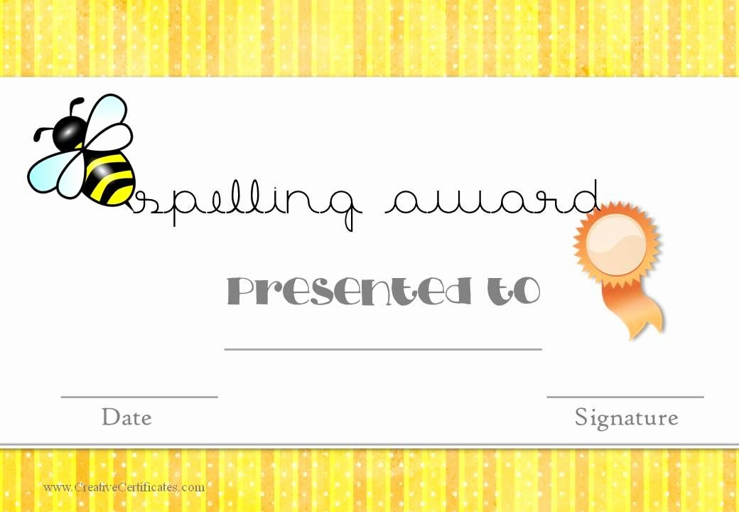 Spelling Bee Certificate Template Fresh Spelling Award for Teachers to Use In the Classroom