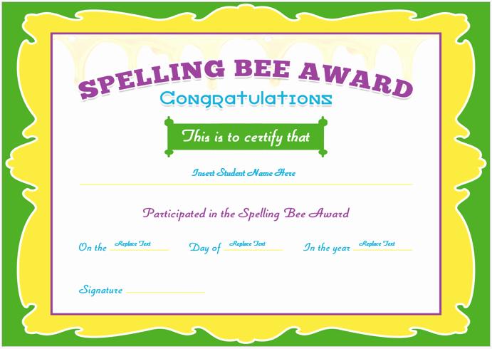 Spelling Bee Certificate Template Fresh Spelling Bee Certificate Templates for Word