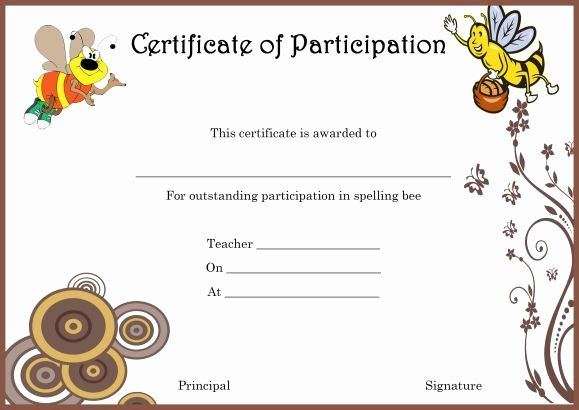 Spelling Bee Certificate Template Lovely Spelling Bee Certificate Of Partcipation Template