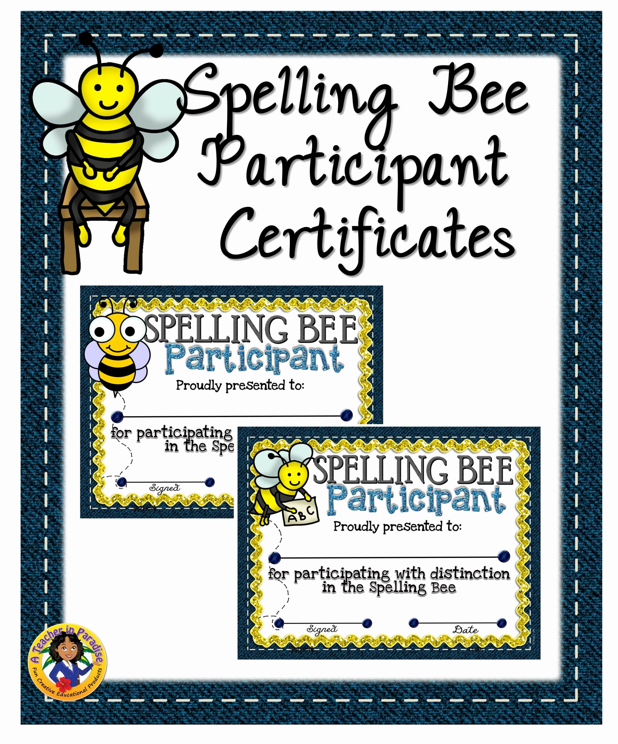 Spelling Bee Certificate Template Lovely Spelling Bee Participant Certificates