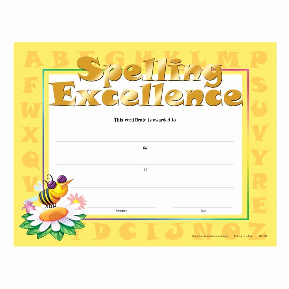 Spelling Bee Certificate Template Luxury Spelling Excellence Gold Foil Stamped Certificates
