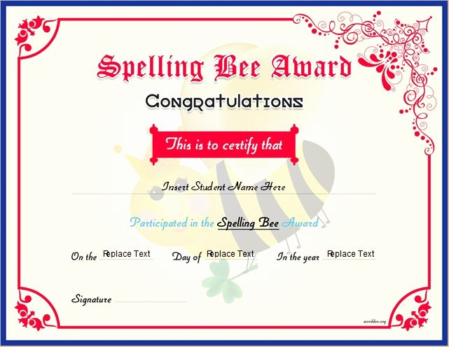 Spelling Bee Certificate Template Unique Spelling Bee Award Certificates for Ms Word