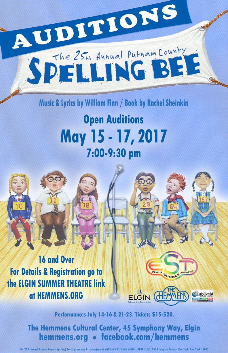 "Spelling Bee Poster Ideas Best Of Elgin Summer theatre Auditions for ""the 25th Annual Putnam"
