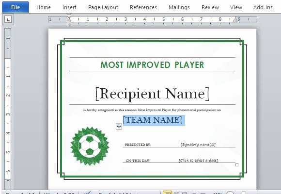 Sports Awards Certificate Template Awesome Printable Sports Certificate Template for Word