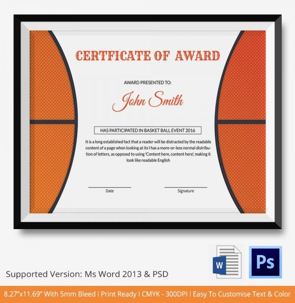 Sports Awards Certificate Template Best Of Basketball Award Certificate Template
