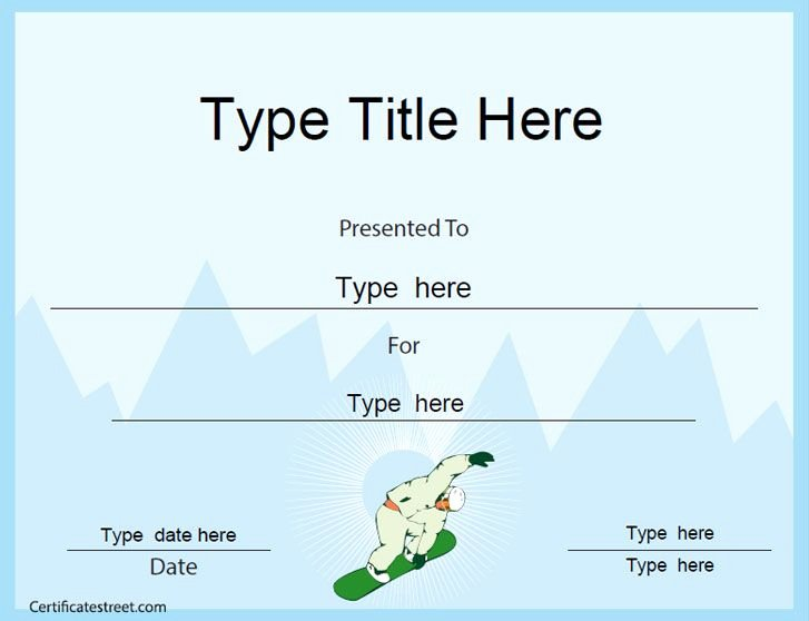 Sports Awards Certificate Template Best Of Sports Certificate Snowboard Certificate Template