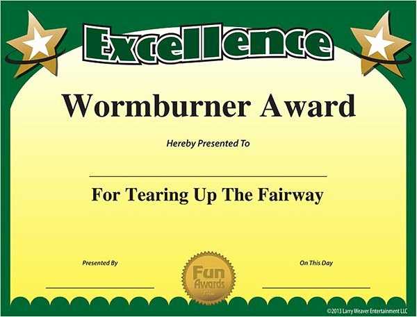 Sports Awards Certificate Template Lovely Free Funny Golf Awards and Sports Award Certificates From