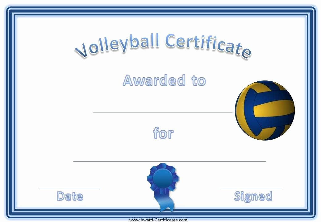 Sports Awards Certificate Template Luxury Volleyball Certificate Template