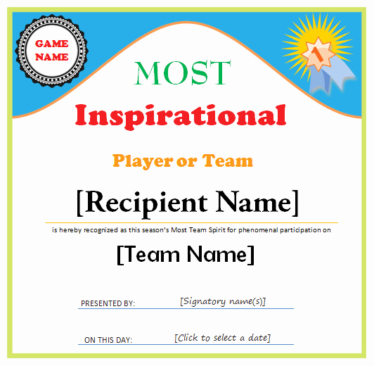 Sports Awards Certificate Template New Sports Award Certificate Template