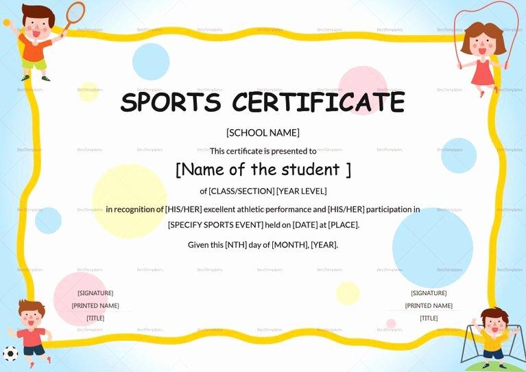 Sports Awards Certificate Template Unique Kids Sports Participation Certificate Template