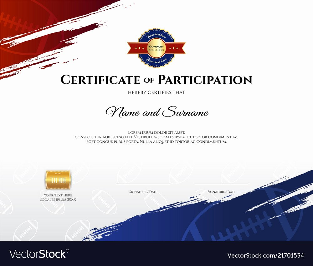 Sports Certificate format In Word Awesome Certificate Template In Rugby Sport theme with Vector Image