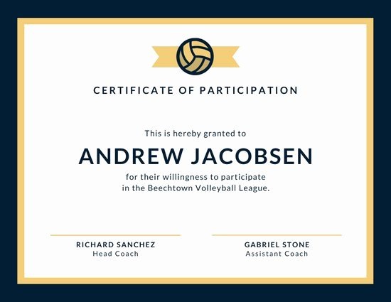 Sports Certificate format In Word Fresh Customize 52 Sport Certificate Templates Online Canva