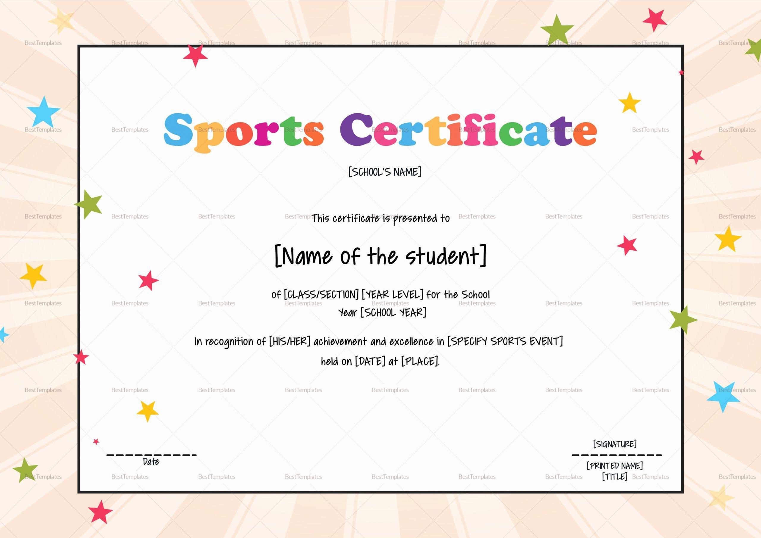 Sports Certificate format In Word Fresh Kids Sports Certificate Design Template In Psd Word