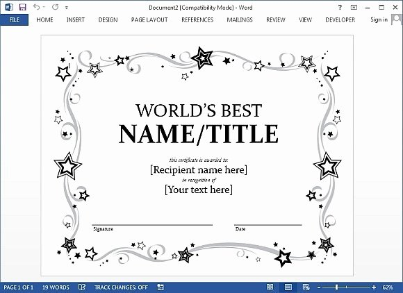 Sports Certificate format In Word Lovely Award Certificate Template for Word